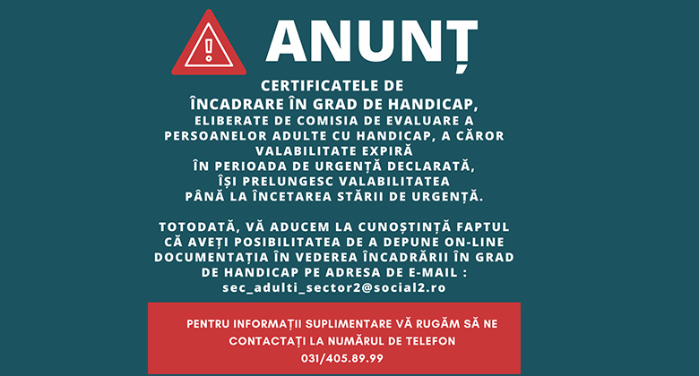 ANUNȚ – Certificate de încadrare în grad de handicap
