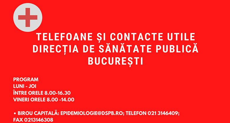 TELEFOANE SI CONTACTE UTILE DIRECȚIA DE SĂNĂTATE PUBLICĂ BUCUREȘTI