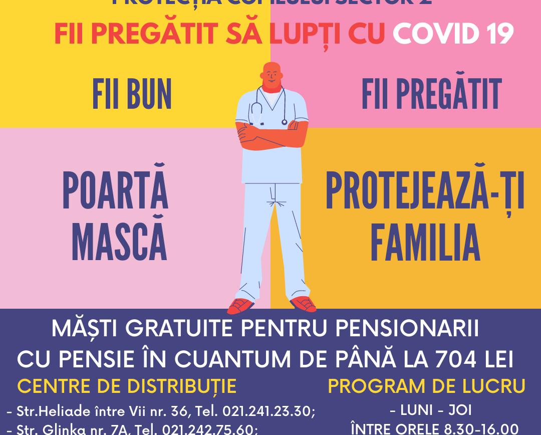 Măști gratuite pentru pensionarii sectorului 2!