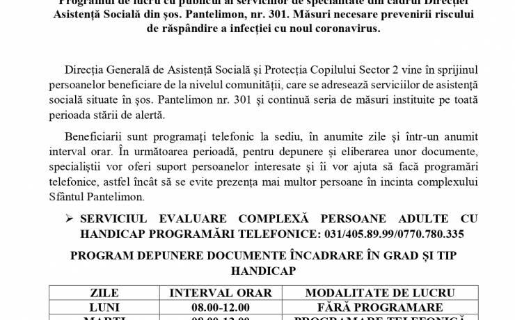 Programul de lucru cu publicul al serviciilor de specialitate din cadrul Direcției de Asistență Socială din șos. Pantelimon, nr. 301
