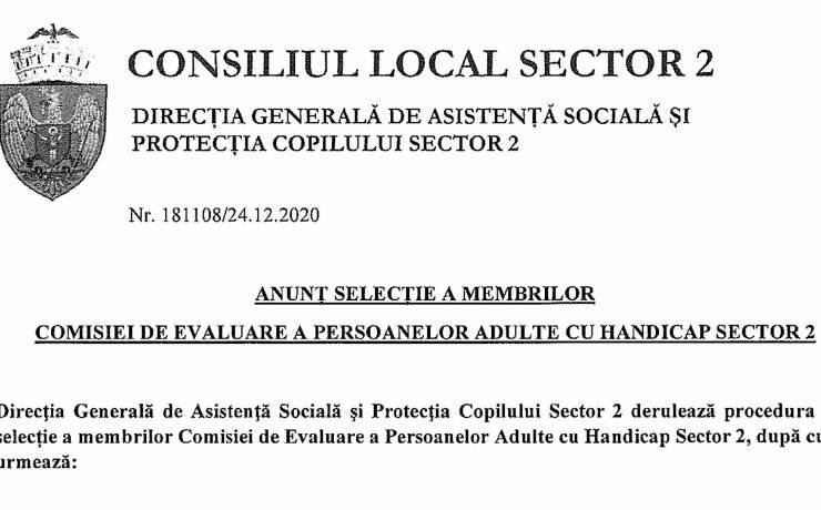 Anunț selecție a membrilor Comisiei de evaluare a persoanelor adulte cu handicap Sector 2
