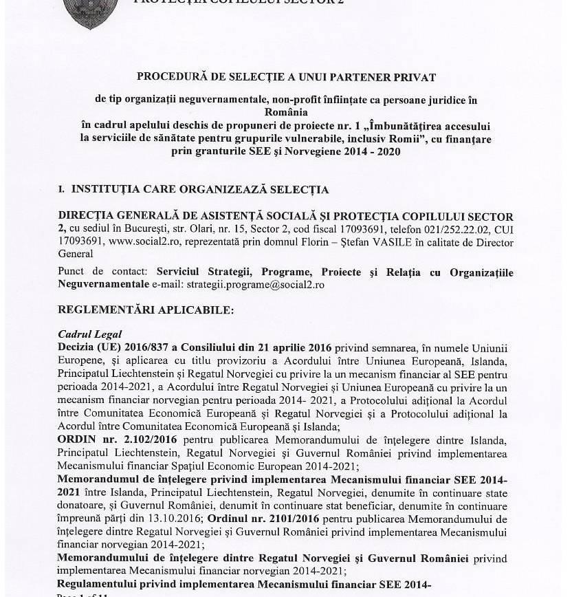 ANUNȚ! PROCEDURĂ DE SELECȚIE A UNUI PARTENER PRIVAT