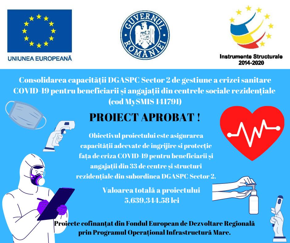 Consolidarea capacității DGASPC Sector 2 de gestiune a crizei sanitare COVID-19 pentru beneficiarii și angajații din centrele sociale rezidențiale (cod MySMIS 141791) – PROIECT APROBAT !