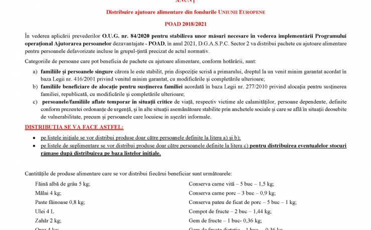 ANUNȚ – Distribuire ajutoare alimentare din fondurile UNIUNII EUROPENE POAD 2018/2021