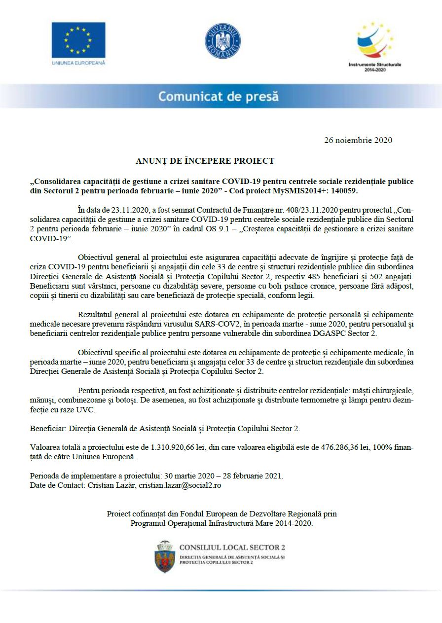 Consolidarea capacităţii de gestiune a crizei sanitare COVID-19 pentru centrele sociale rezidenţiale publice din Sectorul 2 pentru perioada februarie – iunie 2020