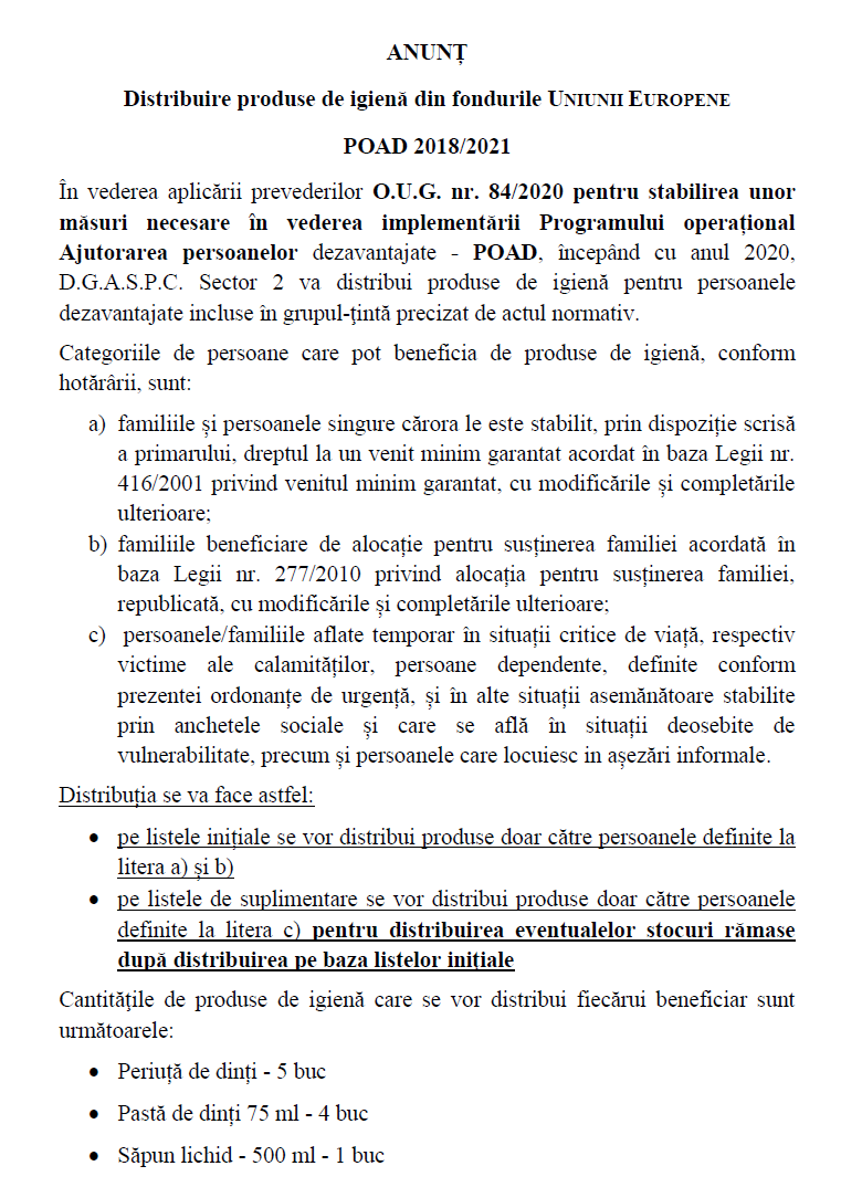 ANUNȚ! Distribuire produse de igienă din fondurile UNIUNII EUROPENE POAD 2018/2021