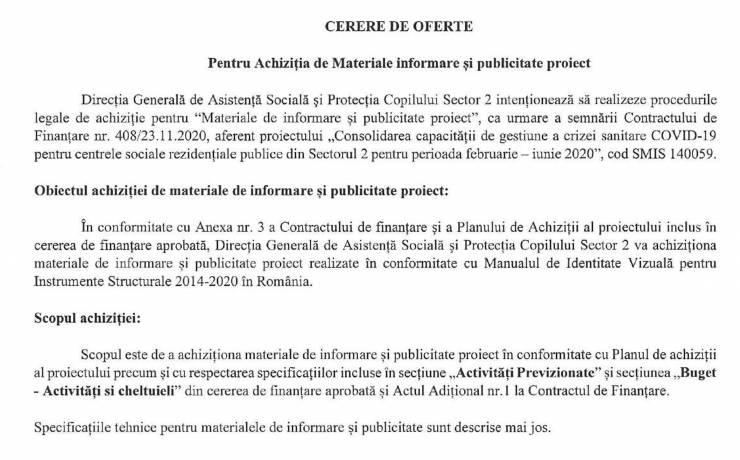 Cerere de oferte pentru achizitia de materiale informare si publicitate proiect