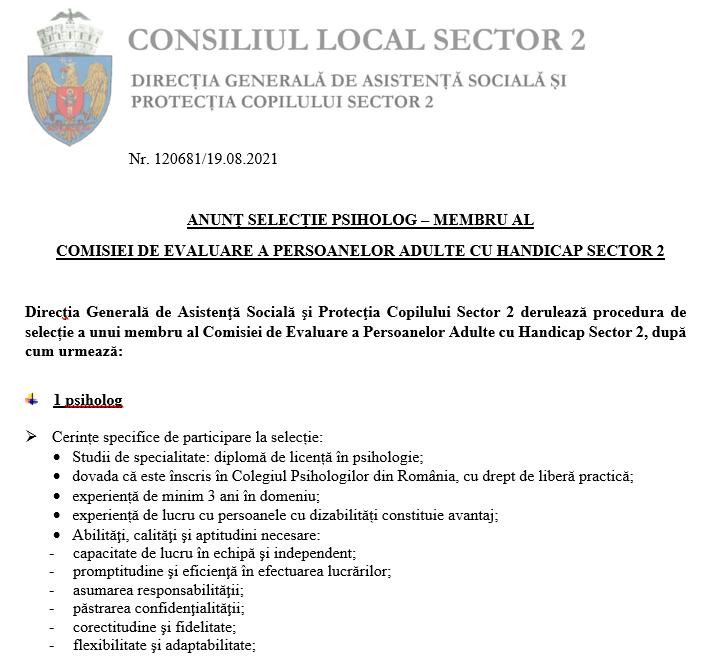 Anunțului de selecție a unui psiholog, membru al Comisiei de Evaluare a Persoanelor Adulte cu Handicap Sector 2