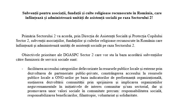 ANUNȚ privind demararea procedurii de selecție a asociațiilor, fundațiilor și cultelor religioase pentru a primi subvenții pentru servicii sociale de la bugetul de local al Sectorului 2 pentru anul 2022