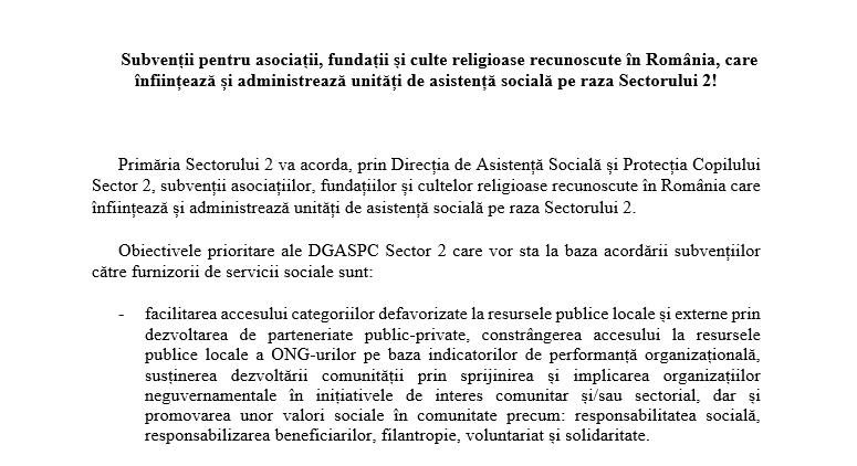 Subvenții pentru asociații, fundații și culte religioase recunoscute în România, care înființează și administrează unități de asistență socială pe raza Sectorului 2!